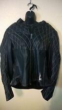 Women's Heavy Leather Motorcycle Jacket Coat XL FirstGear Black Fleur-de-lis