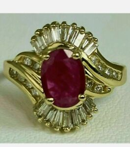 2 Ct Ruby Baguette Diamond Halo Swirl Cluster Vintage Ring 14K Yellow Gold Fn