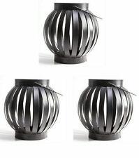 Set of 3 BLACK IRON CANDLE LANTERN Garden Ornament/Decoration TEA LIGHT