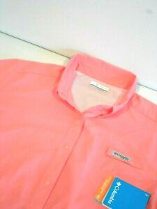 NEW Columbia Womens PFG Tamiami II Shirt Size Large Pink Fishing Gear Top FL7278