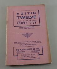 Catalogue des Pièces Austin Twelve HC, Hca , Hr , Hra De 01/1946