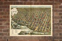 Vintage Minneapolis Print, Aerial Minneapolis Photo, Vintage Minneapolis MN Pic,
