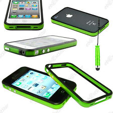 Housse Coque Etui Bumper Vert / Noir Apple iPhone 4S 4 + Mini Stylet