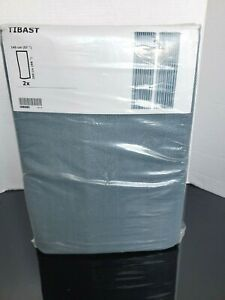 "Ikea Tibast 904.274.18 100% Cotton (57"" X 98"") Curtains 1 Pair (2 panels) Blue"