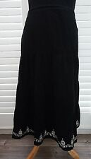 Black Needlecord Tiered Skirt Floral Embroidery Essence - Size 18