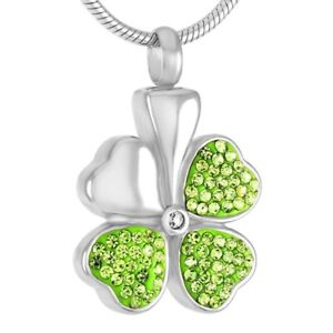 Cremation Memorial keepsake, Four leaf clover Pendant and Necklace for Ashes.