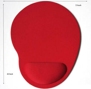 PC Mouse pad Ergonomic Comfortable Mat With Wrist Rest Support  Red Non Slip