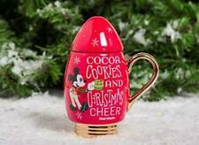 Disney Parks Mickeys Very Merry Christmas Party Light Bulb Mug Cup With Lid