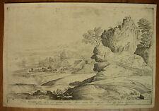 DOMENICO CAMPAGNOLA `ITALIENISCHE LANDSCHAFT´ ANONYME RADIERUNG, SELTEN, ~1640