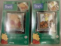 LOT OF 2 Leisure Arts WINNIE THE POOH CROSS STITCH BIB  KITS - ALL NEW