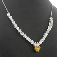 """HALLMARKED 925 Solid Silver 2.9ctw Created Diamond PENDANT & 18"""" SILVER Necklace"""