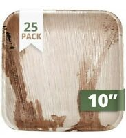 """CaterEco Square Palm Leaf 10"""" Dinner Plates , 25 Pack , Tan"""