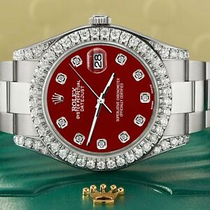 Rolex Datejust II 41mm 4.5CT Diamond Bezel/Lugs/Imperial Red Dial Box Papers