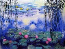 Claude Monet Water Lilies and Willow (Nympheas) Repro, Oil Painting 36x48in