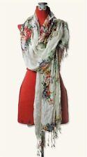 "Victorian Trading Co Watercolor Floral Scarf & Shawl Rayon 72"" Free Ship NIB"