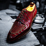 Handmade Men's Mahroon Crocodile Texture Dress Formal  Leather Shoes