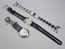 Colibri ladys clip-on watch wrist watch quartz black band stainless steel band