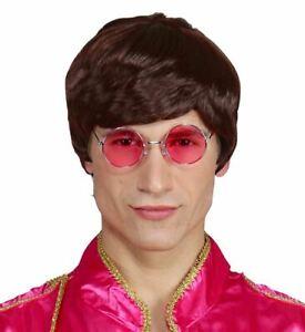 Men's Brown Wig Beatles Lennon McCartney 60's Pop Music Fancy Dress Wig Glasses