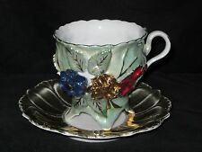German Made Pastel Green Footed Teacup and Saucer