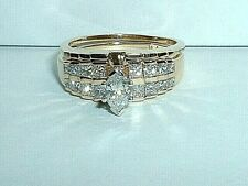 14K YELLOW GOLD MARQUISE PRINCESS CUT DIAMOND ENGAGEMENT RING & WEDDING BAND