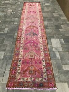 "Turkish Wool Runner, Vintage Hand Knotted Soft Pile 13'x 2'9"", FREE SHIPPING!"