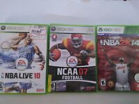 3 Xbox 360 Sports Lot: NBA 14 NCAA Football 07 NBA Basketball 10 Complete CIB