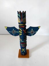Vintage  Handmade Carved Wood Blue Totem Pole Genuine Indian Made 8""