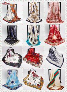 Fashion Women Square Shawl Satin Silk Floral Printed Head Neck Scarf 90x90 UK