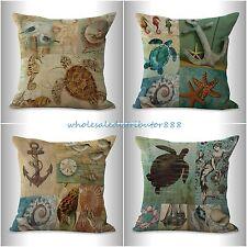 4pcs decor pillows cushion covers marine beach turtle anchor seashell sea life