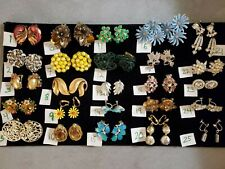 Huge Vintage Lot Earrings Rhinestone TRIFARI MATISSE Thermoset Individual Or Lot