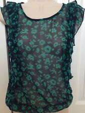 LILY WHITE | Small Blue Green SHEER Ruffle Elastic Waist Top Shirt Blouse Birds