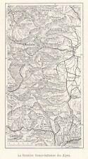 G0366 France - Frontiére franco-italienne - Carta geografica d'epoca - 1923 map