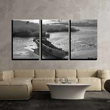 "Wall26 - Wooden Boat by the Bay - Canvas Art Wall Decor - 16""x24""x3 Panels"