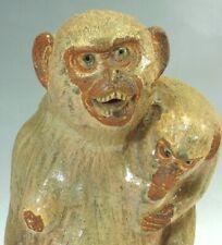 JAPANESE Pottery MONKEY Ornament APE RARE ART Japan Old Antique 059m