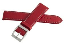 LOCMAN Lorica Men's 23mm x 20mm Red Leather Silver Buckle Watch Band Strap