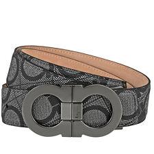 Ferragamo Double Gancio Textured Leather Belt - Size 42