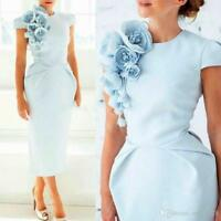 Light Blue Handmade Flowers Formal Evening Dress Crew Neck Short Sleeves Custom