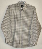 Van Heusen Button Up Down Dress Shirt Mens XL Sz 17.5 L/S Yellow Black Plaid EUC