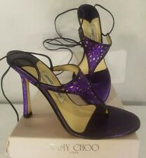JIMMY CHOO London 37.5 7.5 Lace Up Purple Sparkle Sandal Sexy Tie Open Toe Italy