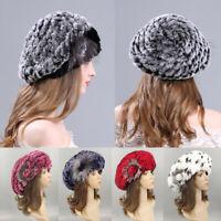 Winter Fashion Women Beret Hat Ladies Rex Rabbit Fur Knitted Warm Beanie Cap