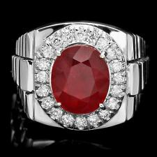 LUXURIOUS 14K WHITE GOLD 7.00CT RUBY 0.90CT DIAMOND MENS RING $9200 CERTIFIED