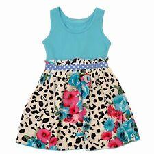 New Girls Dress Size 4 Summer Casual Dresses Girl Blue Floral Kids Sundress SZ 2