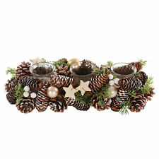 Christmas Table Centrepiece Pine Cone Dressed 3 Glass Jar Candle Holder