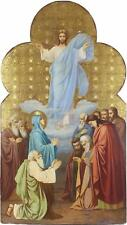 Large Antique Russian Icon Oil Painting of the Ascension of Christ