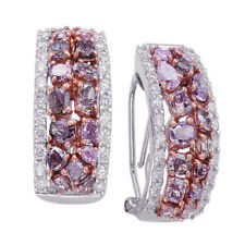 5.85ct Fancy Pink Diamonds Earrings 18K All Natural 10 Grams Real Rose Gold