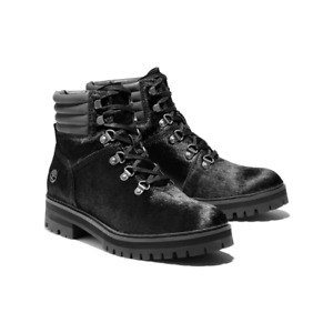 Timberland Women London Square Mid Hiker Boots US 6.5M Black Cow Hair Leather