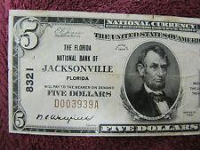 1929 5 DOLLAR  FLORIDA   NATIONAL BANK of JACKSONVILLE   CHARTER 8321