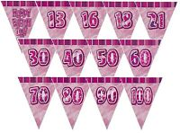 PINK GLITZ Prismatic Triangle 12ft BUNTING Birthday Party Flag Banner Decoration