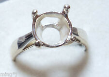 Sz.9  PRE-NOTCHED .925 STERLING SILVER 12 mm RING MOUNT R644