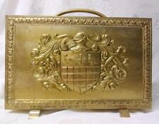 Vintage Coat of Arms Brass Fireplace Magazine Holder Rack Carrier